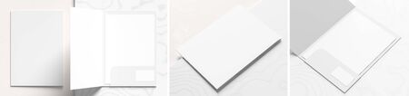 Reinforced A4 size single pocket folder mock up isolated on white marble background. Folder mock up rendered with three different variations. 3D illustration Фото со стока