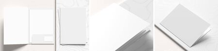 Reinforced A4 size single pocket folder mock up isolated on white marble background. Folder mock up rendered with three different variations. 3D illustration Фото со стока - 142673565