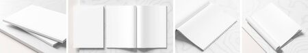Realistic magazine or catalog mock up on white marble background. Blank magazine mockups rendered with four different variations. 3D illustration.