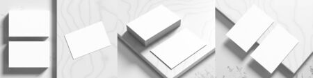 Business card mock ups isolated on white marble background. Three different business card mock ups on white background. 3D illustration.