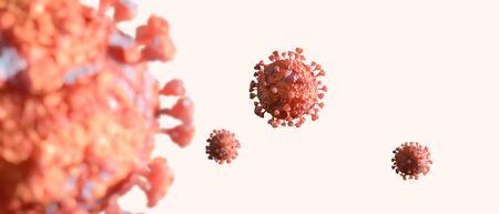 Coronavirus 2019-nCov novel coronavirus outbreak concept background. Microscopic view of floating influenza virus cells. 3D illustration.
