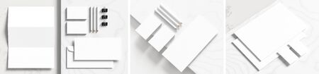 Corporate identity stationery mock up isolated on white marbel background. Mock up for branding identity. 3D illustration Фото со стока - 148146711
