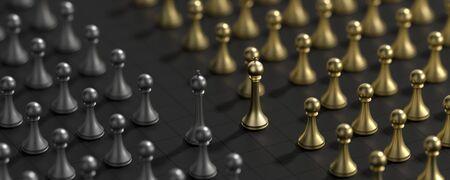 Business concept design with chess pieces. Chess concept background. 3D illustration. Фото со стока - 148150254