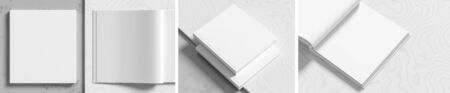 Square hardcover book or catalogue mock up on white marble