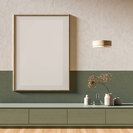 Mock up poster frame in Scandinavian style interior with wooden furnitures. Minimalist interior design. 3D illustration. Фото со стока - 150445379