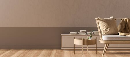 Empty wall mock up in modern style interior with wooden armchair. Minimalist interior design. 3D illustration. Фото со стока - 150444729