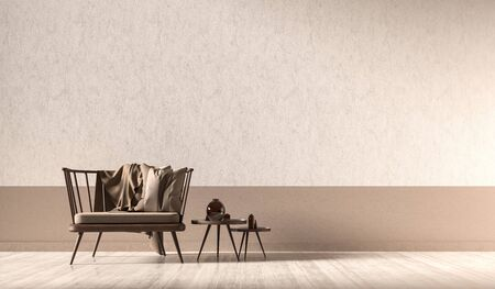 Empty wall mock up in modern style interior with wooden armchair. Minimalist interior design. 3D illustration. Фото со стока - 150445639