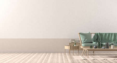 Empty wall mock up in modern style interior with wooden furnitures. Minimalist interior design. 3D illustration. Фото со стока - 154364831