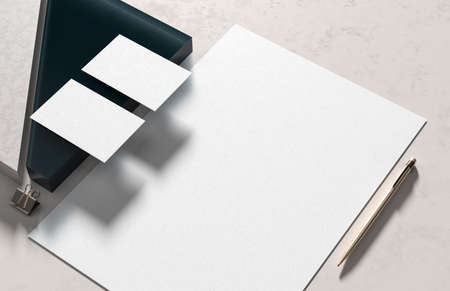 Corporate identity stationery mock up isolated on modern style background. Mock up for branding identity. 3D illustration