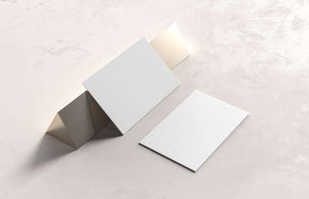 Business card mock up on modern style background. 3D illustration.