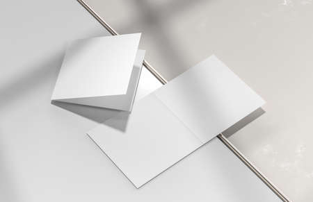 Square bifold brochure mock up isolated on white background. 3D illustration.