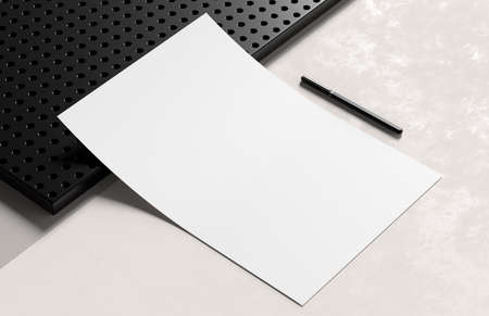 A4 size white paper mock up isolated on soft background. Blank portrait A4 mock up. 3D illustration.