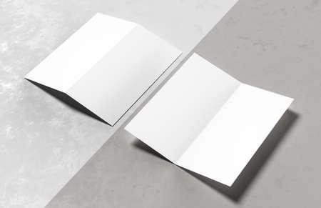 Bi-fold brochure mock up isolated on white background. 3D illustration.