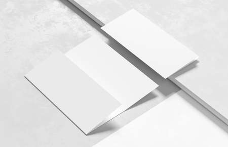 Three fold - trifold brochure mock up isolated on modern white background. 3D illustration