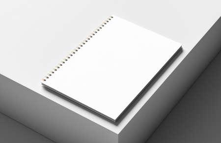 Spiral binder notebook mock up isolated on modern white background. 3D illustration