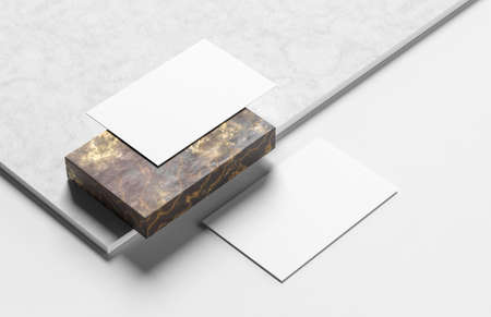 Realistic business card mock up isolated on white background. 3D illustration.