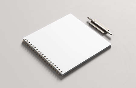 Realistic spiral binder square notebook mock up isolated on white background. 3D illustration