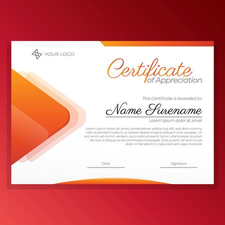 Orange certificate of appreciation design template with luxury and modern style vector image