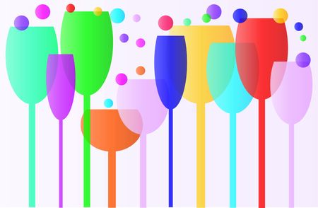 sized: glasses of various colors different sizes Illustration