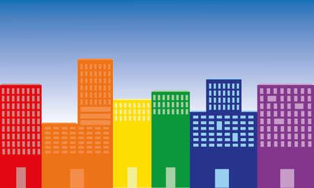 長い通り色の建物