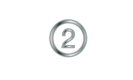 Silver framed round number two isolated on plain background. 向量圖像