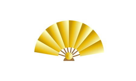 Traditional golden hand fan.