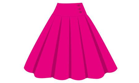 Illustration of the pink skirt on white background. 일러스트