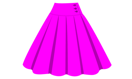 Illustration of the pink skirt on white background. Vectores