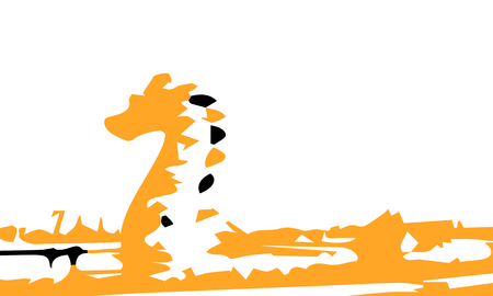 Dragon, lizard-like reptile vector illustration design.