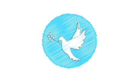 Hand drawn peace pigeon bird with olive branch. Illustration