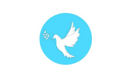 Peace pigeon bird with olive branch. Illustration