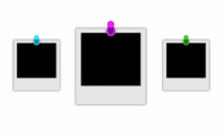 Photos frames with shadows and pushpins on white background