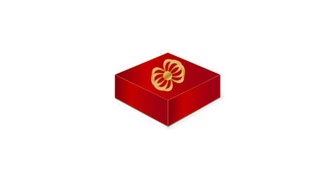 Red gift box and golden bow