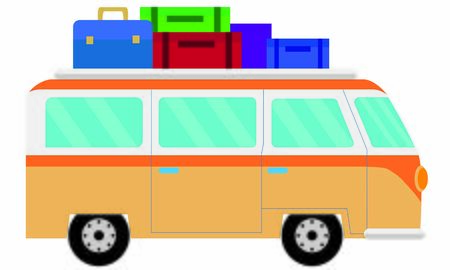 Vehicle, van, unit with motor that serves to move. Van, four-wheeled vehicle loaded with suitcases for the trip