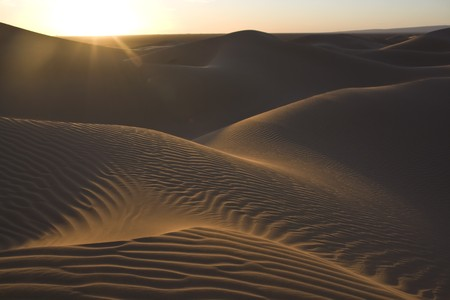 yearning: sunset in the desert with clear sky and dunes in the evening light Stock Photo
