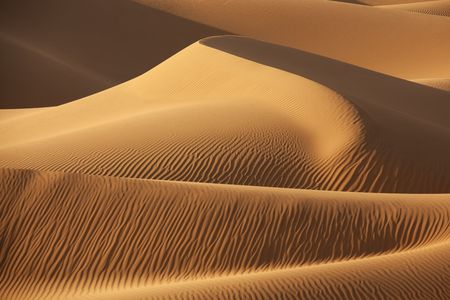 Sahara desert sand dunes with shadows. Concept for holiday and traveling.