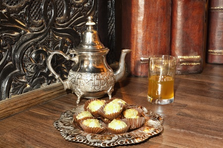 Moroccan tea with pastries. photo
