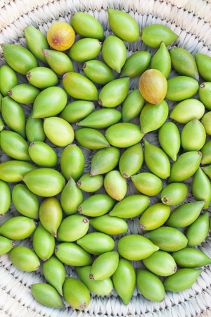 argan: Argan nuts from the Argan tree, that is cultivated for the oil (argan oil) which is found in the fruit. The oil is rich in fatty acids and is used in cooking and cosmetics.