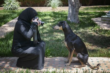 Beautiful Moroccan Arab muslim woman with traditional black niqab, photographs an obedient young Sloughi dog (Arabian greyhound), inside a backyard garden. Authentic, real life, candid, ethnic diversity, showing empowerment of moslem woman.