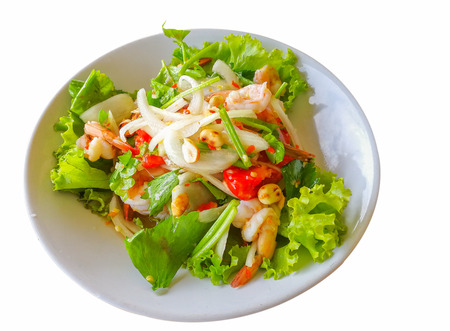 Thai food, Fresh shrimp salad in a white dish isolated on white background.