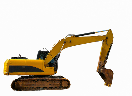 Side view of The old yellow excavator Isolated on white background.