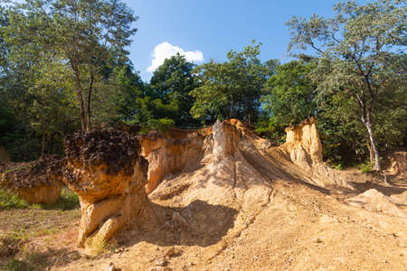 Phae Mueang Phi Nation Park Phrae in Thailand. Born from the terrain which is soil And sandstone has been naturally eroded into various shapes.