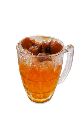 Longan juice drink in glass isolated on white background. Stock Photo
