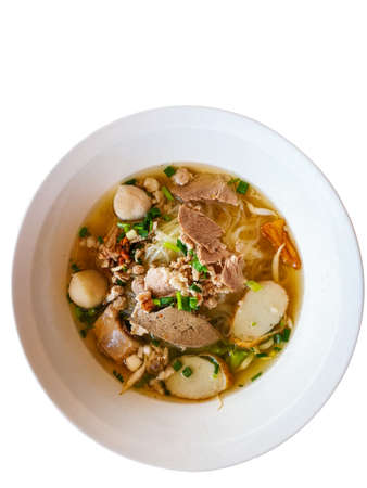 Top view Clear pork noodle soup isolated on white background.