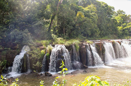 The beauty of Tad Pha Suam waterfall, Laos Stock Photo