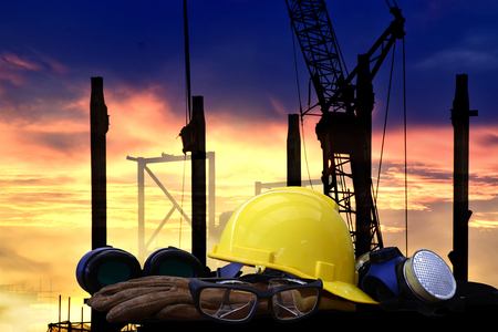 Standard construction safety and construction site background. Stock Photo
