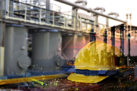 Double exposure of safety standard set and chemical plant .Safety  concept . Stock Photo