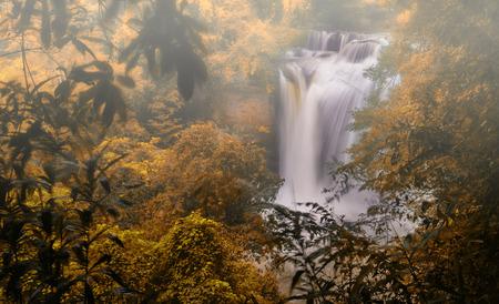 Autumn season landscape waterfall Thailand. Stock Photo