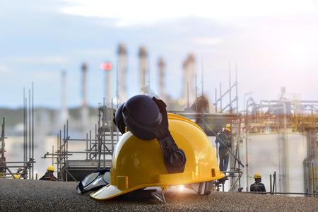 safety standard set  on working table and construction background Standard-Bild