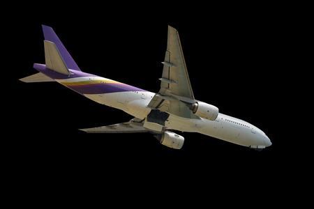 A large passenger aircraft isolate on black background.